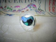 Sea glass and Paua shell ring
