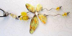 Gelber Schmetterlingsflügel Anhänger-Unikat Feenglitzerflügel Acryl Glas NEU