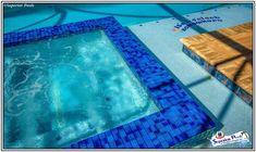 We love these fun details clients added to their pools! Pool Kings, Pool Contractors, Luxury Pools, Building A Pool, Custom Pools, Pool Builders, Pool Designs, Outdoor Entertaining, Tile Design