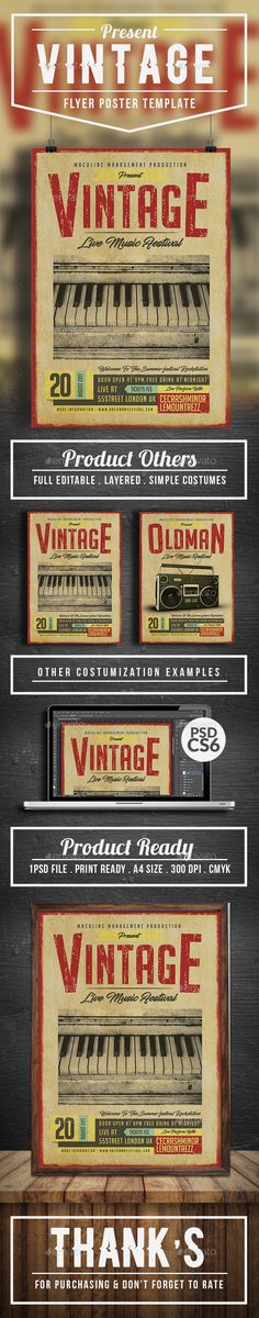 Vintage Live Music Flyer/Poster Templates — Photoshop PSD #template #typography • Download ➝ https://graphicriver.net/item/vintage-live-music-flyerposter-templates/19802256?ref=pxcr