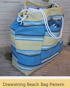 Quick and Easy Drawstring Beach Bag Sewing ePattern by Modest Eve Sewing Studio