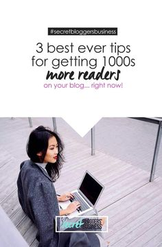 Blog Traffic Tips: My 3 Best Ever Tips To Get More Blog Readers - check them out at http://www.secretbloggersbusiness.com