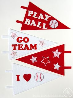 """DIY Baseball Pennants - make your own sports pennants to you support your team! Fun for kids' sports and end of the season """"trophies. Baseball Activities, School Age Activities, Baseball Crafts, Baseball Games, Baseball Signs, Pro Baseball, Toddler Activities, Softball, Vbs Crafts"""