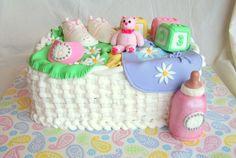 Basket of goodies Baby shower cake.