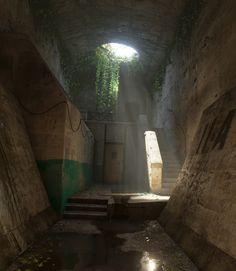 Apocalypse World, Post Apocalypse, Game Environment, Environment Concept Art, Environment Design, Underground Bunker, 3d Studio, Environmental Art, Fantasy Landscape
