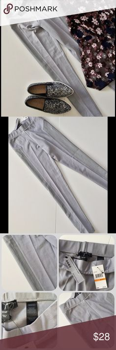 Gray Leggings w/ Vegan Leather NWT These great pale gray leggings have a nice stretchy fabric that isn't see through. The 6% spandex gives a nice fit without bagging Accented with vegan leather panels. New with tags. 66% rayon 28% nylon 6% spandex. Side panels are 100% coated rayon. Hand wash. Top listed separately. Shoes are sold 1st photo is truest color Bundle discount  ⭐️5 star rated Suggested User Smoke free home No trades please   Thank you for shopping with me. Please ask all…
