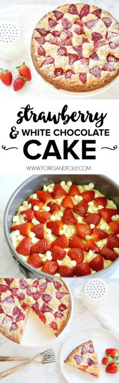 This vanilla flavored cake batter is the perfect backdrop for fresh spring strawberries and sweet white chocolate chips. Make a double batch of this Strawberry White Chocolate Cake recipe and freeze one for a rainy day!