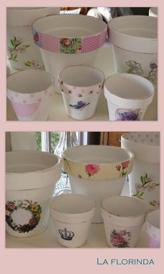 Casa Feliz: Un pedido muy especial Flower Pot Crafts, Clay Pot Crafts, Fun Crafts, Painted Plant Pots, Painted Flower Pots, Rustic Vintage Decor, Henna Candles, Air Conditioner Screen, Shabby Chic Cottage