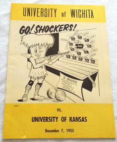 1955 WSU University of Wichita vs Kansas Program Jayhawks Shockers Basketball