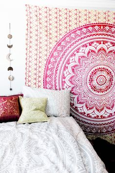 Hippie Trippy Sunrise Mandala Tapestry