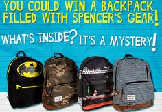 Win 1 of 5 Backpacks plus Spencer's Gear !  #Giveaways #Contests