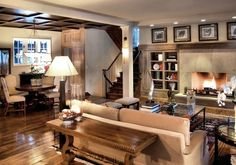 rustic fireplace with bookshelves on each side | ... built in book shelves on either side of the fireplace and rustic look