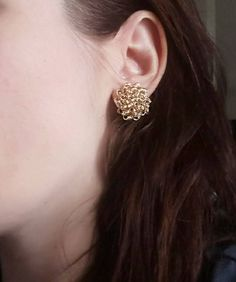 Gold round stud earrings, handmade wire crochet earrings * Shop on Etsy--> https://seethis.co/gwLbP/ * #shopsmall # jewelryonetsy #fashion #handmade