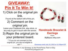 GIVEAWAY - Pin It To Win It: To Win This Item from BijiBijoux.etsy.com, follow the instructions: Click on ORIGINAL pin, comment leaving a way to contact you, REPIN the ORIGINAL Pin! Contest ends 7/10/12 @ 11:59pm EST. Winner announced 7/11/12.