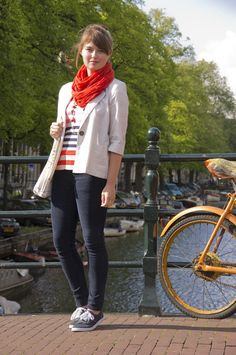 love the stripes and red scarf combo