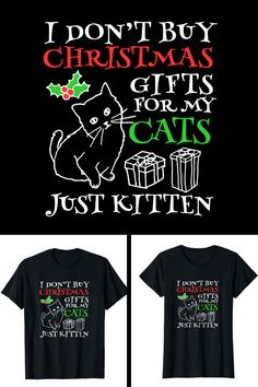caa52466 Cute Christmas Cat Shirt for Cat Lovers. Available for women and men on  Amazon.