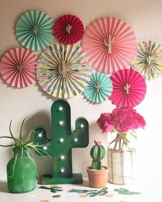 Hot Pink Cactus Party Fans, Cactus Party, Fiesta, Hot Pink and Green, Hot Pink a. Quinceanera Planning, Quinceanera Party, Llama Birthday, Cactus Decor, Cactus Centerpiece, Paper Fans, Mexican Party, Glitter Cards, Party Planning