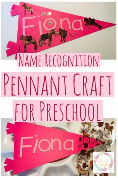 Have fun teaching your preschooler his/her name with a name recognition pennant craft. It's a fun, easy and creative activity to practice name recognition. Preschool Craft Activities, Name Activities, Preschool Projects, Creative Activities, Back To School Night, Back To School Crafts, Kindergarten Names, Name Crafts, Rainbow Writing