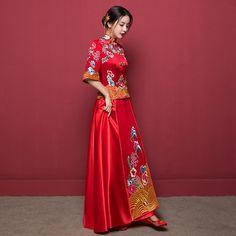 13 ~ minimal changes ~ not shiny ~ balanced Red Chinese Dress, Chinese Wedding Dress Traditional, Chinese Bride, Traditional Dresses, Chinese Dresses, Different Wedding Dresses, Red Wedding Dresses, Bridal Dresses, Weeding Dress