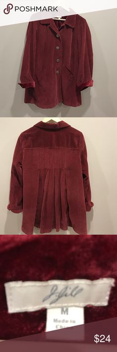 J.Jill Corduroy painters blazer. M. 💯% cotton Amazing J.Jill corduroy blazer! Size M , nice and long wine color with a beautiful detail to the back. Hardly worn at all!! You will love the rugged yet sophisticated styling this blazer has, it's a great addition to anyone's closet 💕 J. Jill Jackets & Coats Blazers