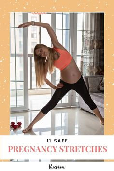 The best way to combat aches and pains caused by a growing belly? Stretching! Here are 11 pregnancy stretches that guarantee relief, according to a prenatal exercise specialist. #pregnancy #pregnant #stretches Prenatal Exercise, Exercise Routines, Shoulder Stretches, Chest Opening, Strength Training Workouts, Muscle Groups, Stress Relief, Back Pain, Hiit