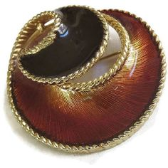 Vintage Brooch Abstract High Gloss Enamel Black Brown Swirl ($22) ❤ liked on Polyvore featuring jewelry, brooches, vintage jewelry, polish jewelry, brown jewelry, vintage brooches and vintage jewellery