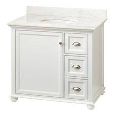 """""""The vanity looks more like a nice piece of furniture rather than a bathroom sink. Love the marble top! I was looking for a lot of real estate around the sink bowl and this fits the bill. The lower door and drawers have """"soft close"""" hinges and slides...very nice! Installed it myself along with new faucet. Very easy install."""" --Home Depot customer """"KYboy"""""""