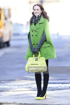 Actress Leighton Meester films scene at the 'Gossip Girl' film set in Dumbo on March 01, 2010 in New York City.