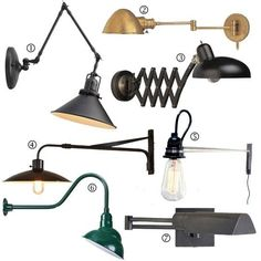 In a tiny bedroom a wall mount lamp can give you ample reading light without taking up space on a bedside table (if there's room for a bedside table). The seven lamps shown here are all plug-in and most features swing-arms for ultimate usability.