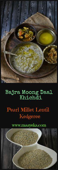 Bajra Khichdi- Healthy savory porridge /kedgeree made with.Bajra Khichdi- Healthy savory porridge /kedgeree made with pearl millet and g - Garlic Recipes, Veg Recipes, Lunch Recipes, Cooking Recipes, Healthy Recipes, Vegan Indian Recipes, Gluten Free Vegetarian Recipes, Winter Dinner Recipes, Recipes Dinner