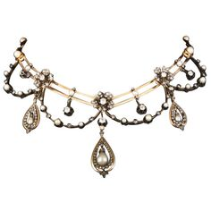 19th century necklace in yellow gold, platinum, probably natural pearls and diamonds (67grs)