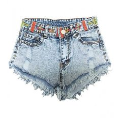 Tribal Denim Shorts With Frayed Hem (364.110 IDR) ❤ liked on Polyvore