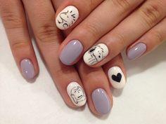 """nail art design for short nails, character nail art """"snoopy"""" #shortnail #nailart"""