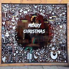 Dominika Lipniewska, London based illustrator and designer. Christmas Shop Displays, Christmas Store, Christmas Art, Xmas, Christmas Window Decorations, Christmas Window Display, Painted Windows For Christmas, Illustration Noel, Christmas Illustration