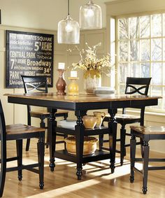 Black Oak Five Piece Counter Height Dining Set