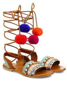 1210a1f61 ELINA LINARDAKI L.A. Lover Embroidered Leather High-Wrap Sandals.   elinalinardaki  shoes
