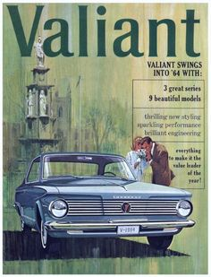 1964 Plymouth Valiant - push buttons, red interior- a lot of fun! Vintage Advertisements, Vintage Ads, Vintage Posters, Rockabilly, Chrysler Valiant, Old Classic Cars, Classic Auto, Plymouth Valiant, Aussie Muscle Cars