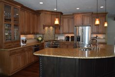 Kitchen island with sink in the island