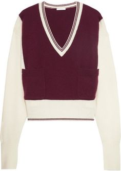 Burgundy and ivory cashmere Slips on cashmere Dry clean Designer color: Dark Red Imported Relaxed Outfit, Burgundy Sweater, Calvin Klein Underwear, Cashmere Sweaters, I Dress, Knitwear, Turtle Neck, Style Inspiration, Haute Couture