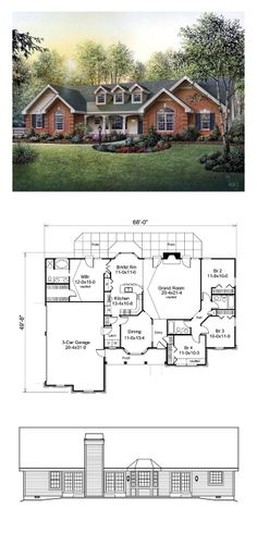 Ranch House Plan 87817 | Total Living Area: 1929 sq. ft., 4 bedrooms  3 bathrooms. More than a great room for this size home, the grand room features a vaulted ceiling, brick and wood mantle fireplace and double-doors to the rear patio. State-of-the-art U-shaped kitchen has a built-in pantry, computer desk, breakfast bar and breakfast room with bay window. #houseplan #ranchstyle
