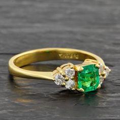 Petite Emerald and Diamond Ring | Perry's Fine Antique & Estate Jewelry