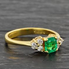 Petite Emerald and Diamond Ring | Perry's Fine Antique & Estate Jewelry