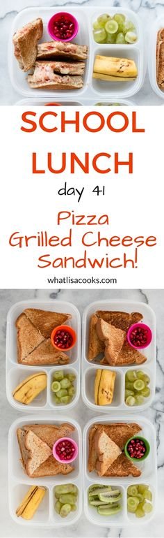 The kids will love this one - a pizza grilled cheese sandwich, packed for school lunch! Kids Lunch For School, Healthy School Lunches, Healthy Meals For Kids, Kids Meals, Easy Meals, Healthy Snacks, Lunch Snacks, Lunch Recipes, Lunch Box