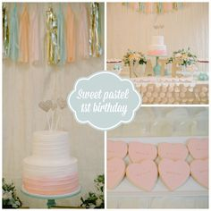 Sweet Pastel First Birthday Party - the cake and cookies are out of this world!