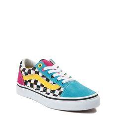 Vans Old Skool Checkerboard Skate Shoe - Little Kid / Big Kid - Multi Teen Girl Shoes, Boy Shoes, Skate Shoes, Vans Shoes, Crocs Shoes, Cute Shoes For Kids, Vans For Kids, Cute Vans, Shoe Size Chart Kids
