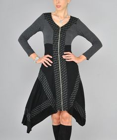Love this Black & Gray Abstract Stripe Sidetail Dress by Dzhavael Couture on #zulily! #zulilyfinds