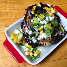 Grilled Radicchio and Corn Salad with Queso Fresco - The perfect salad recipe for lunch or dinner!