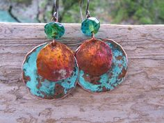 Old World Copper Earrings Blue Green Patina by Gasquetgirl on Etsy