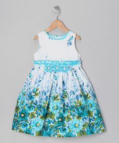 Take a look at this Turquoise Floral Dress - Infant, Toddler & Girls by Donita on #zulily today!