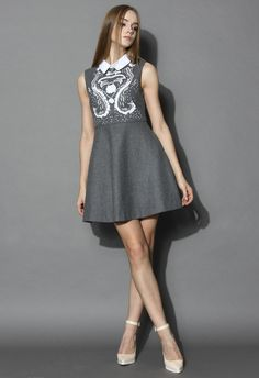 Snow Fairy Grey Wool Blend Dress - Grace an occasion wearing this wool-blend dress and admiring eyes will be drawn to its glittering design. White sequins and beads cascade down the front, coordinating with the white collar. Mix it with high heals to complete your look.